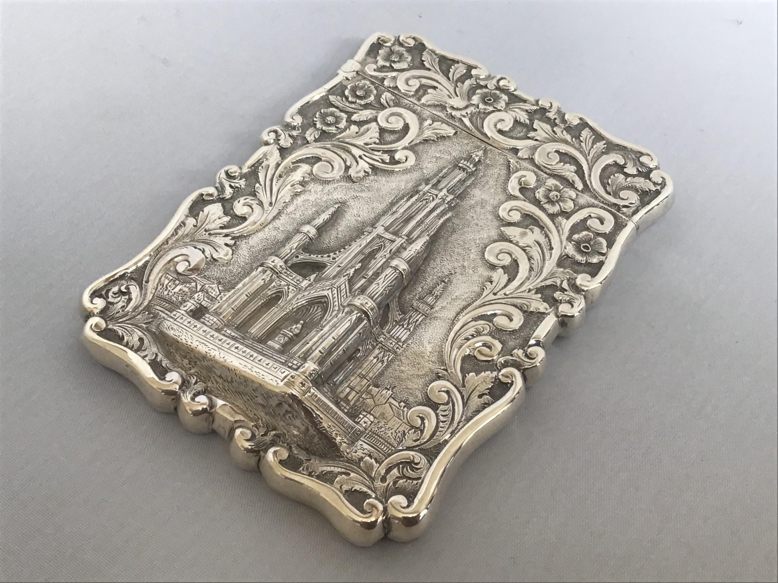 solid silver castle top card case