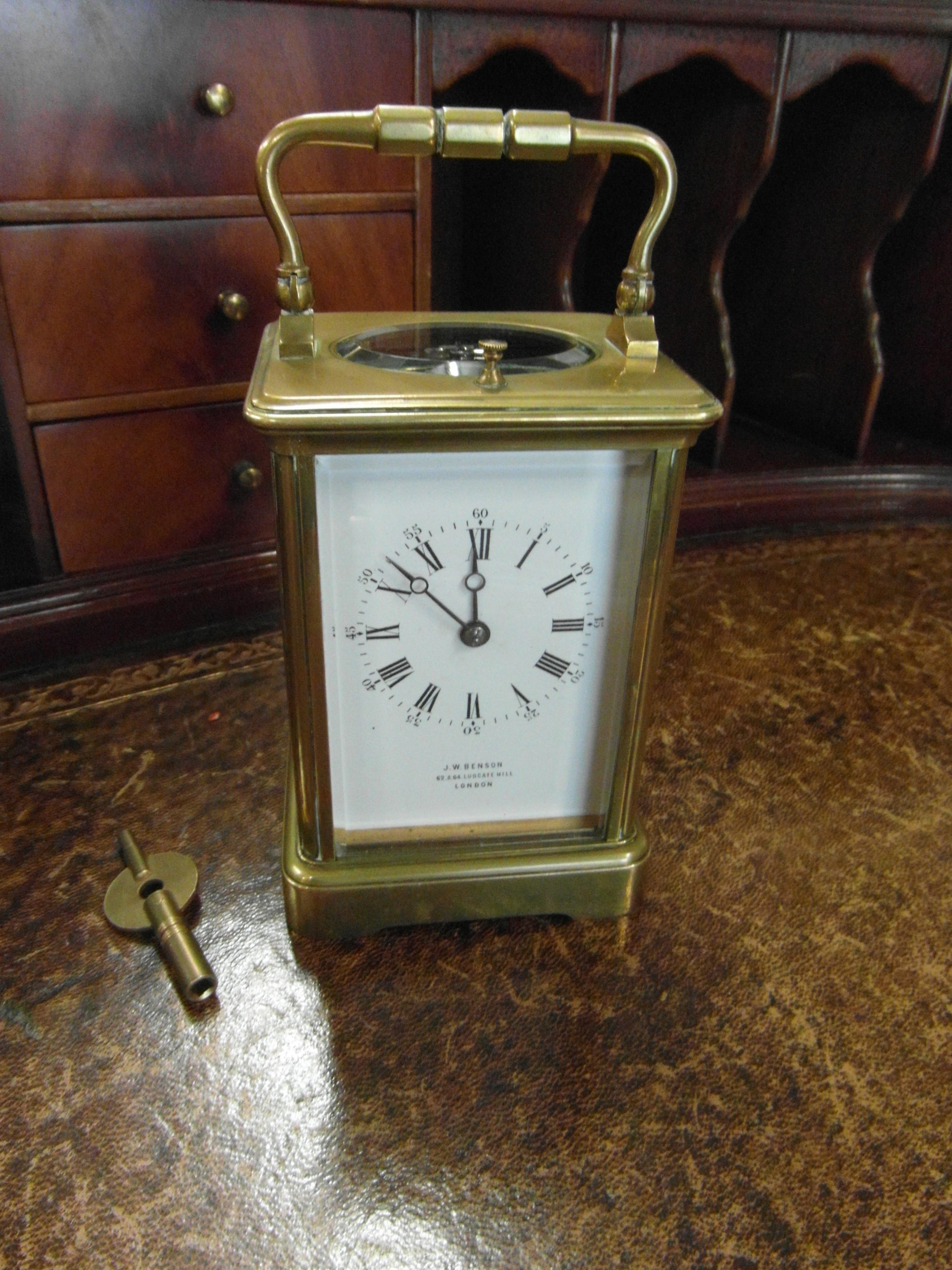 striking repeating french carriage clock j w benson