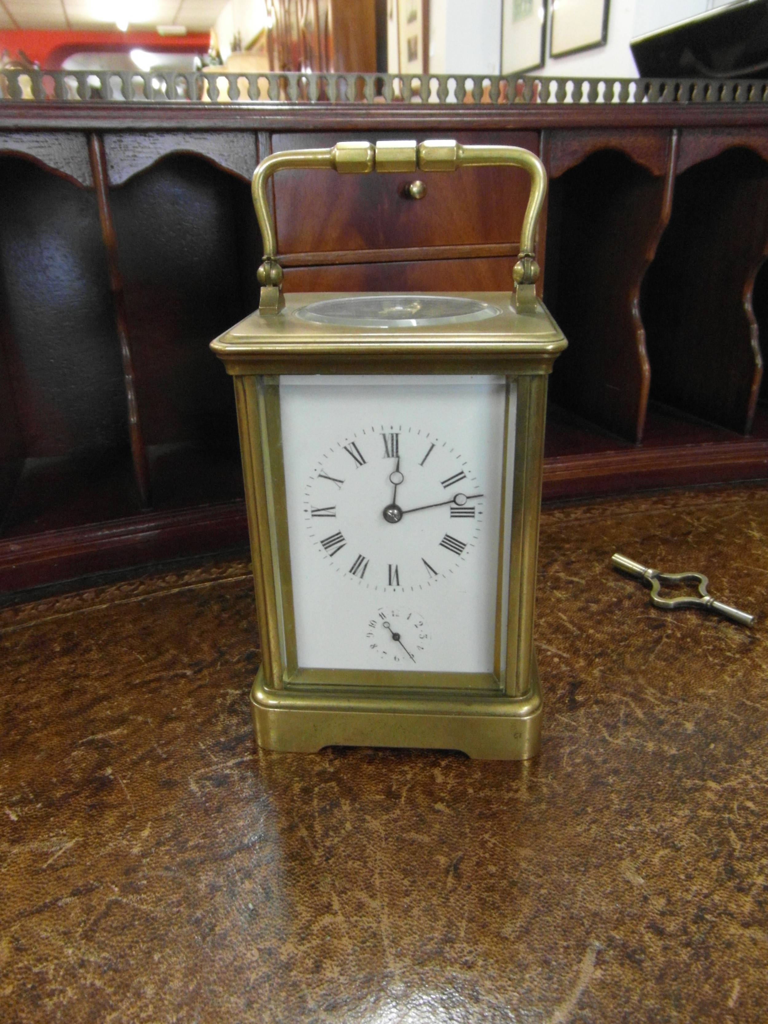 large french 8 day brass striking carriage clock with alarm
