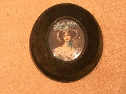 miniature painting on ivory of beautiful regency lady