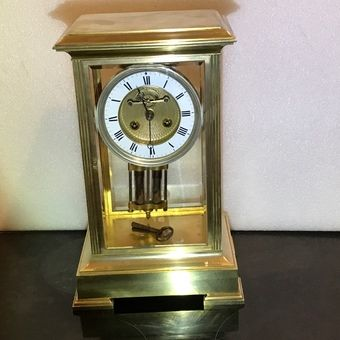superb victorian french glass sided visible escapement movement clock