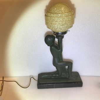 art deco bronze and marble lamp