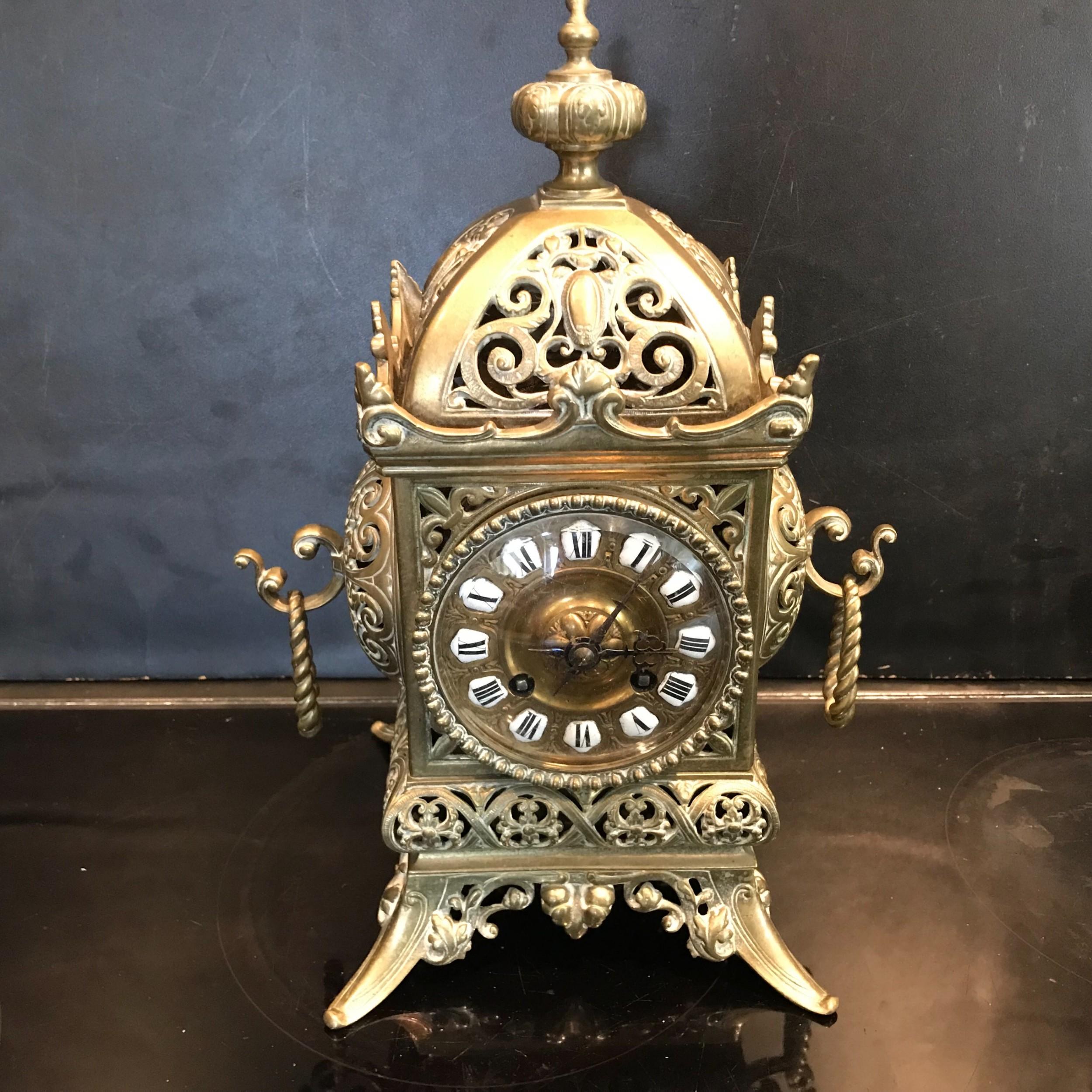 chinese pagoda styled gilt brass clock