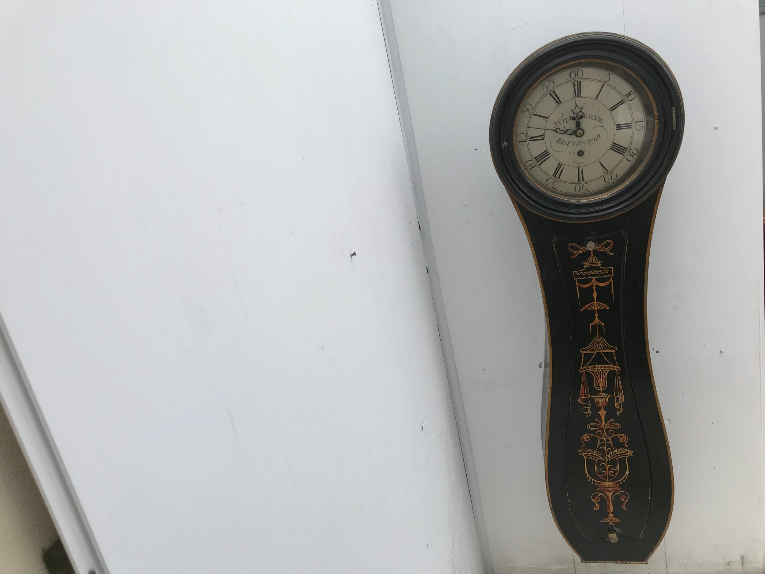 rare antique parliment wall clock made by william downie of edinburgh