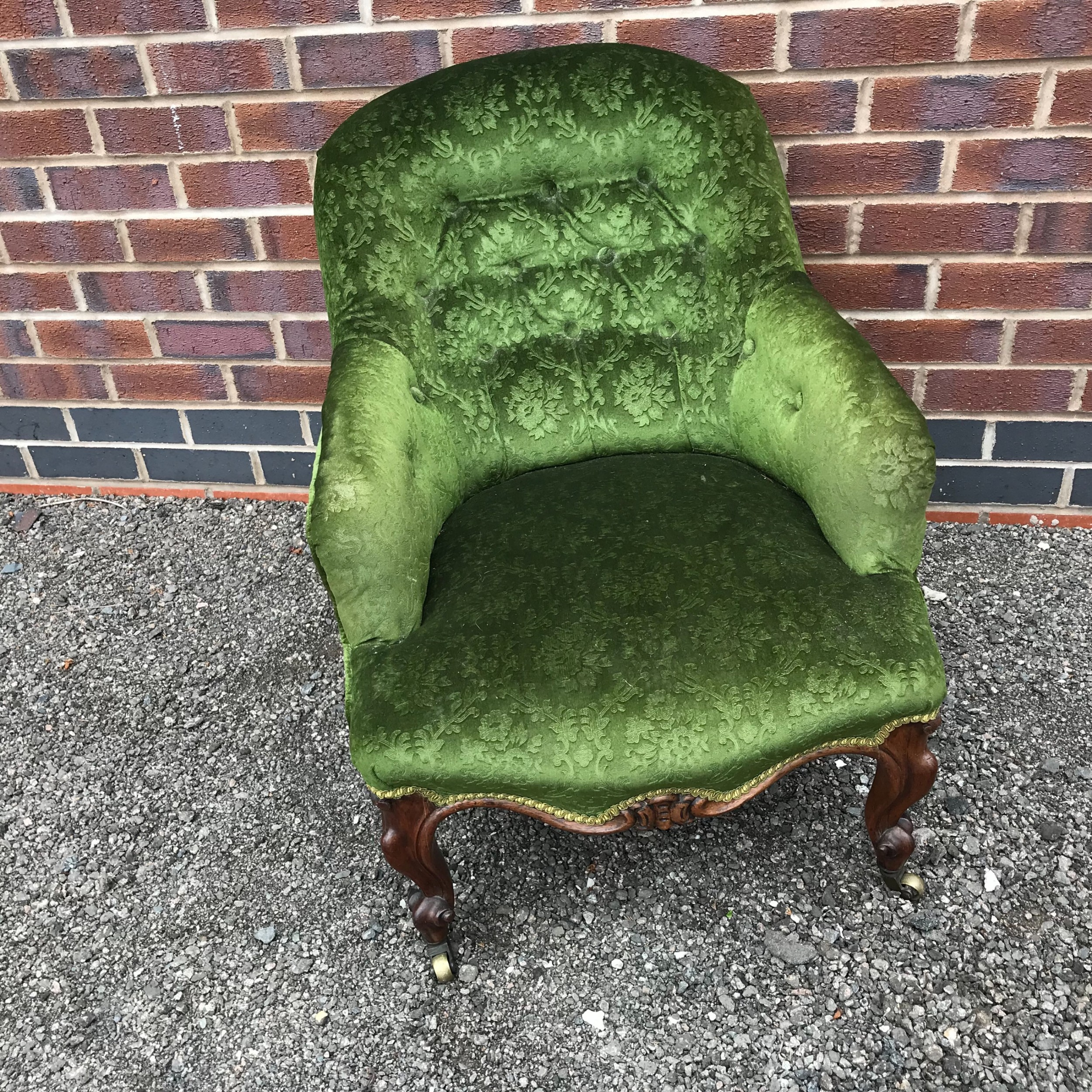 small rosewood framed cabriole legged victorian armchair