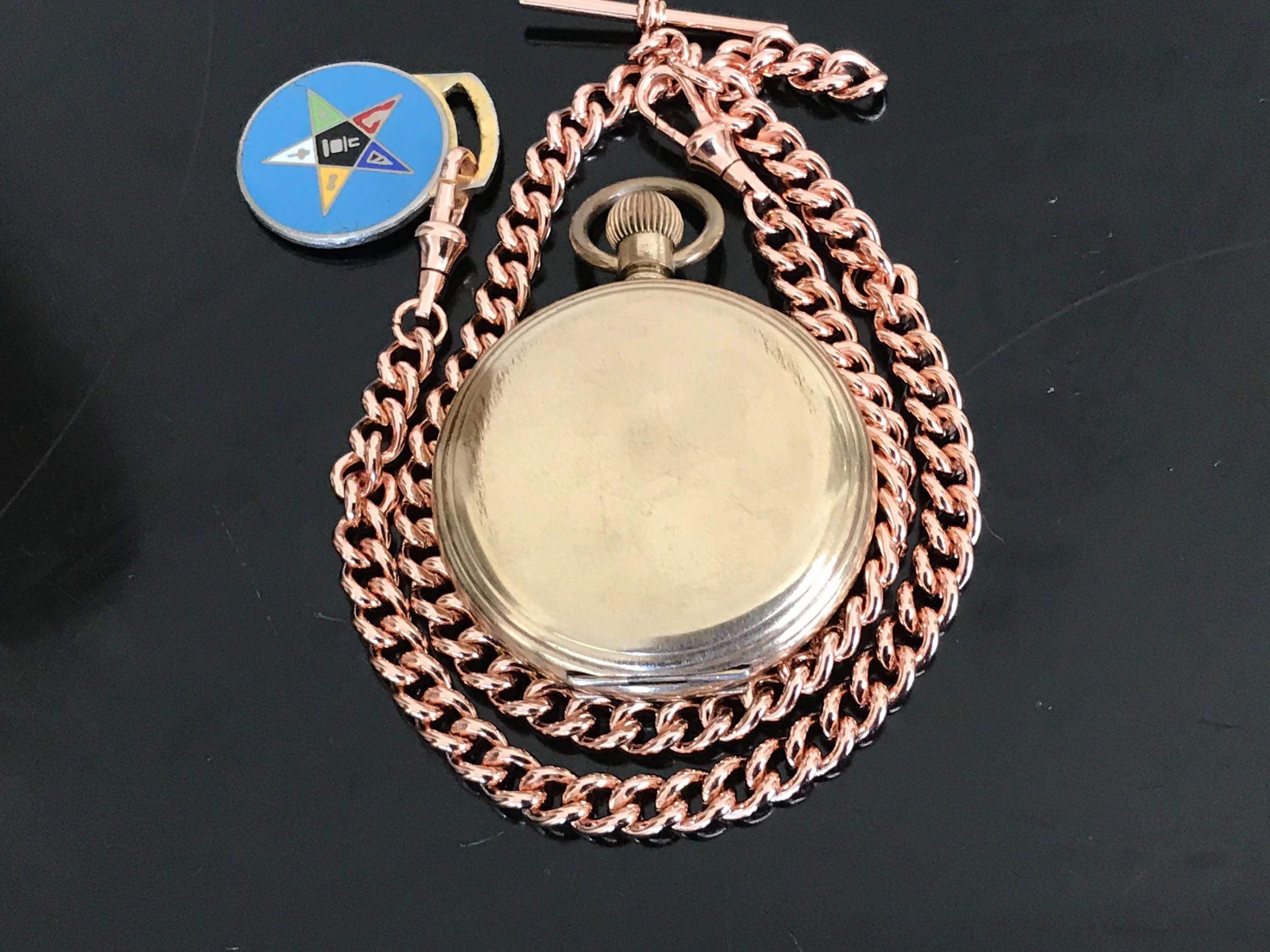 masonic full hunter pocket watch and chain
