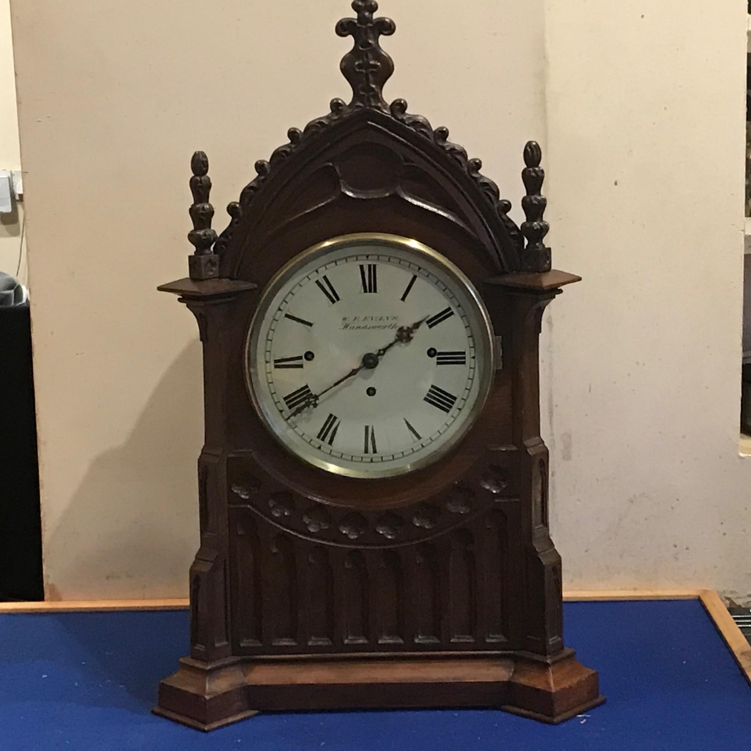 bracket clock on eight bells oak cased