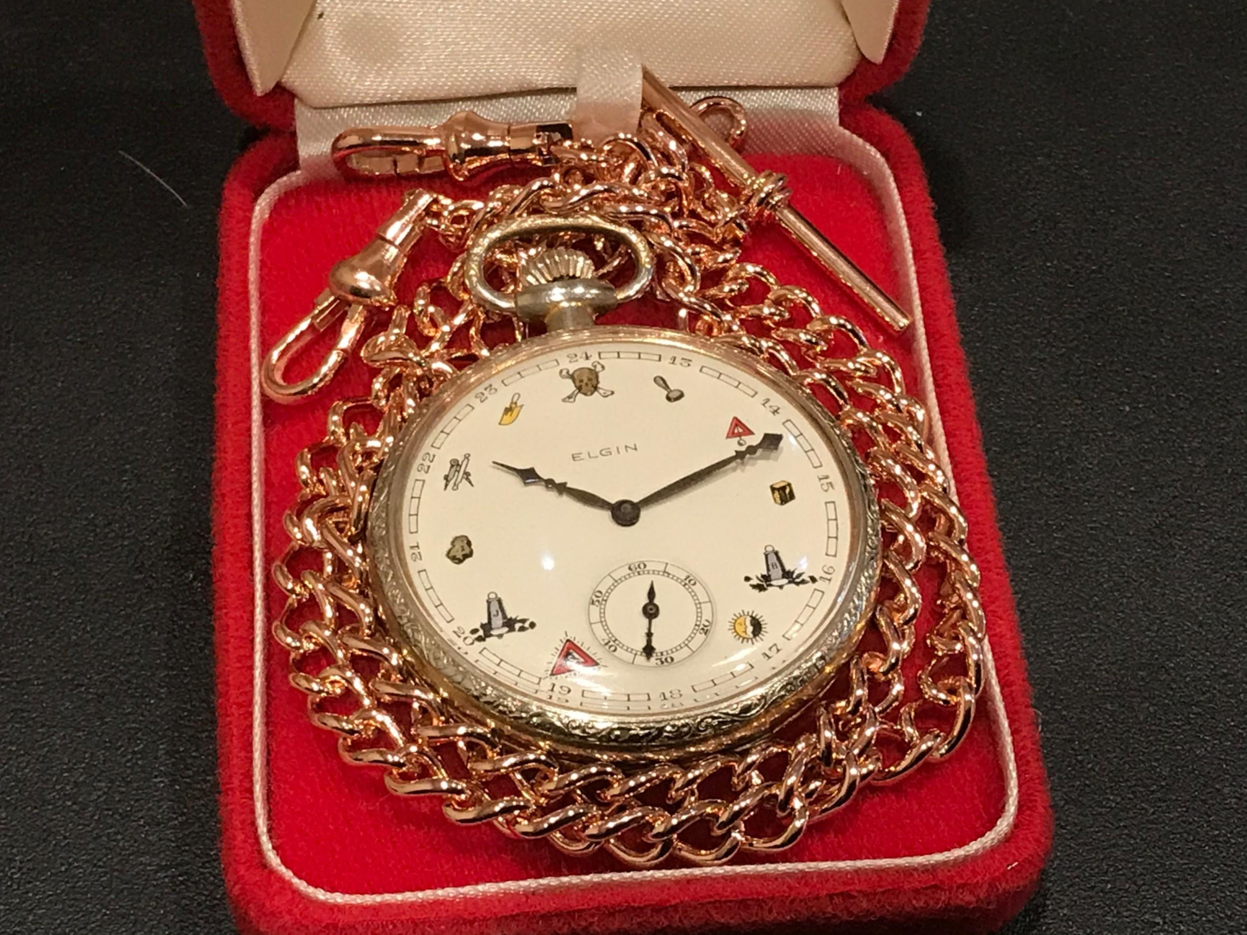 elgin masonic pocket watch chain