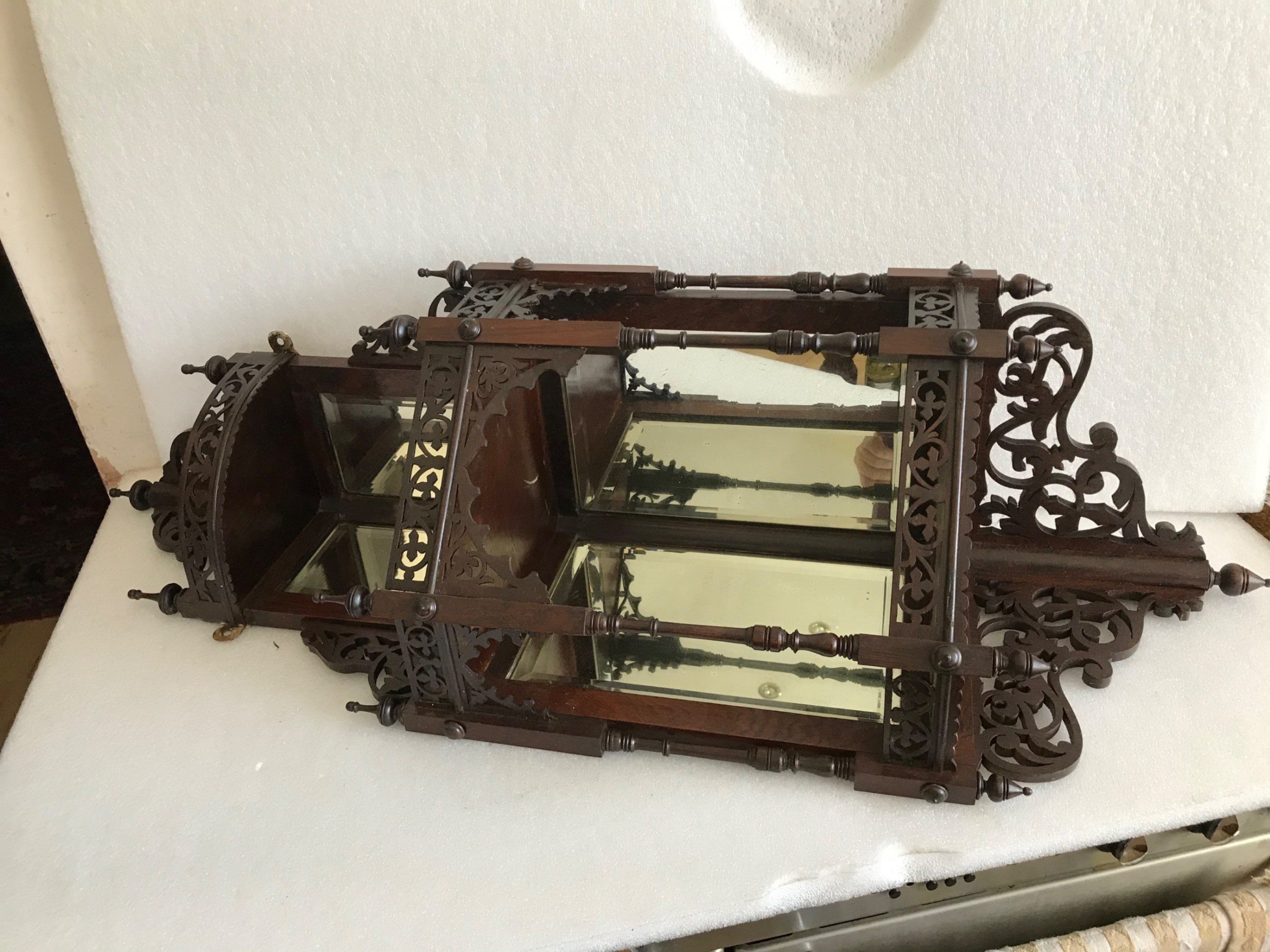 corner cabinet intricate carved rosewood and mirrors