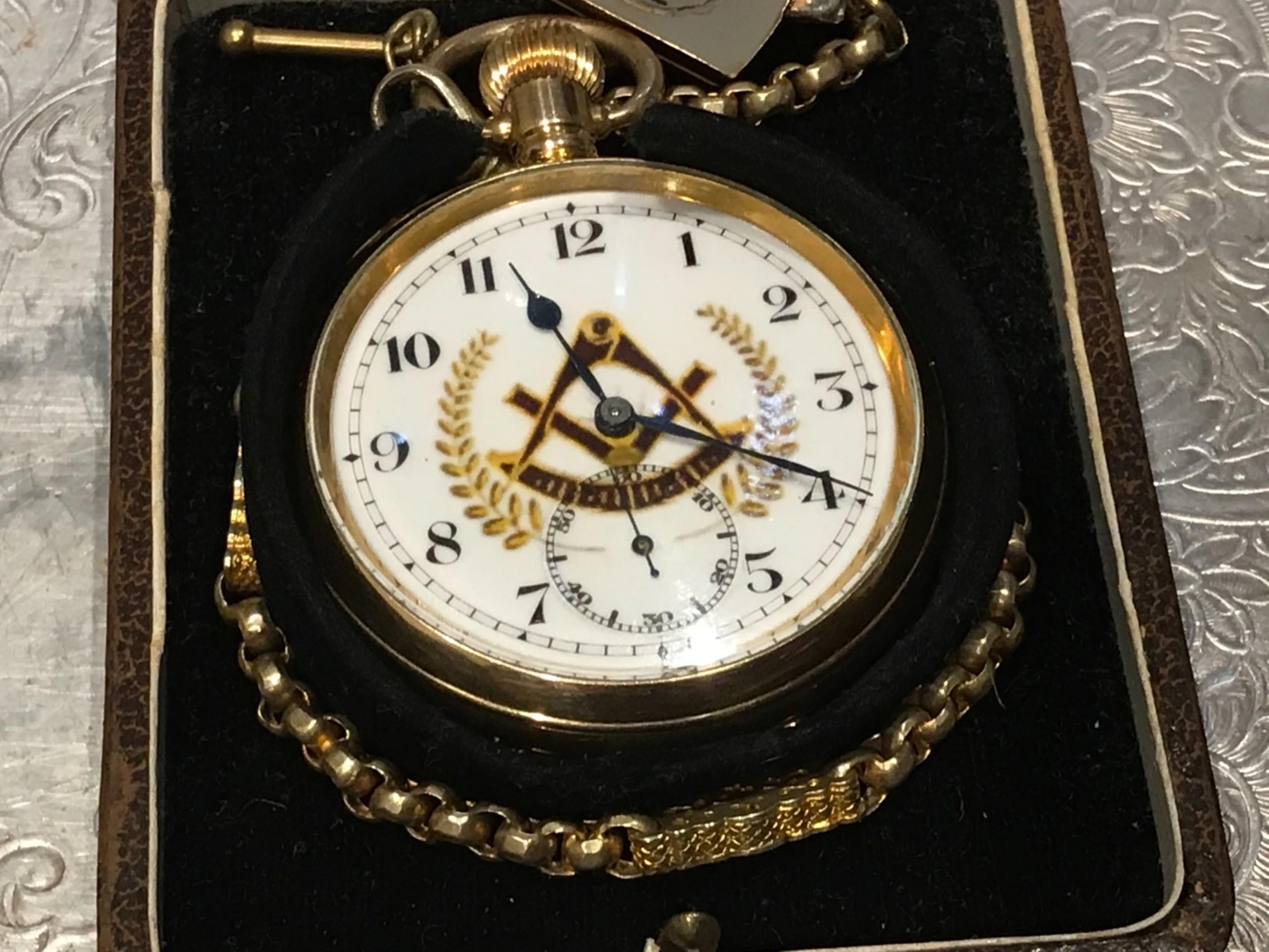 masonic pocket watch and chain fob