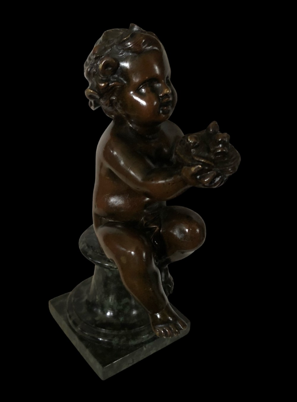 19th century bronze of seated putti
