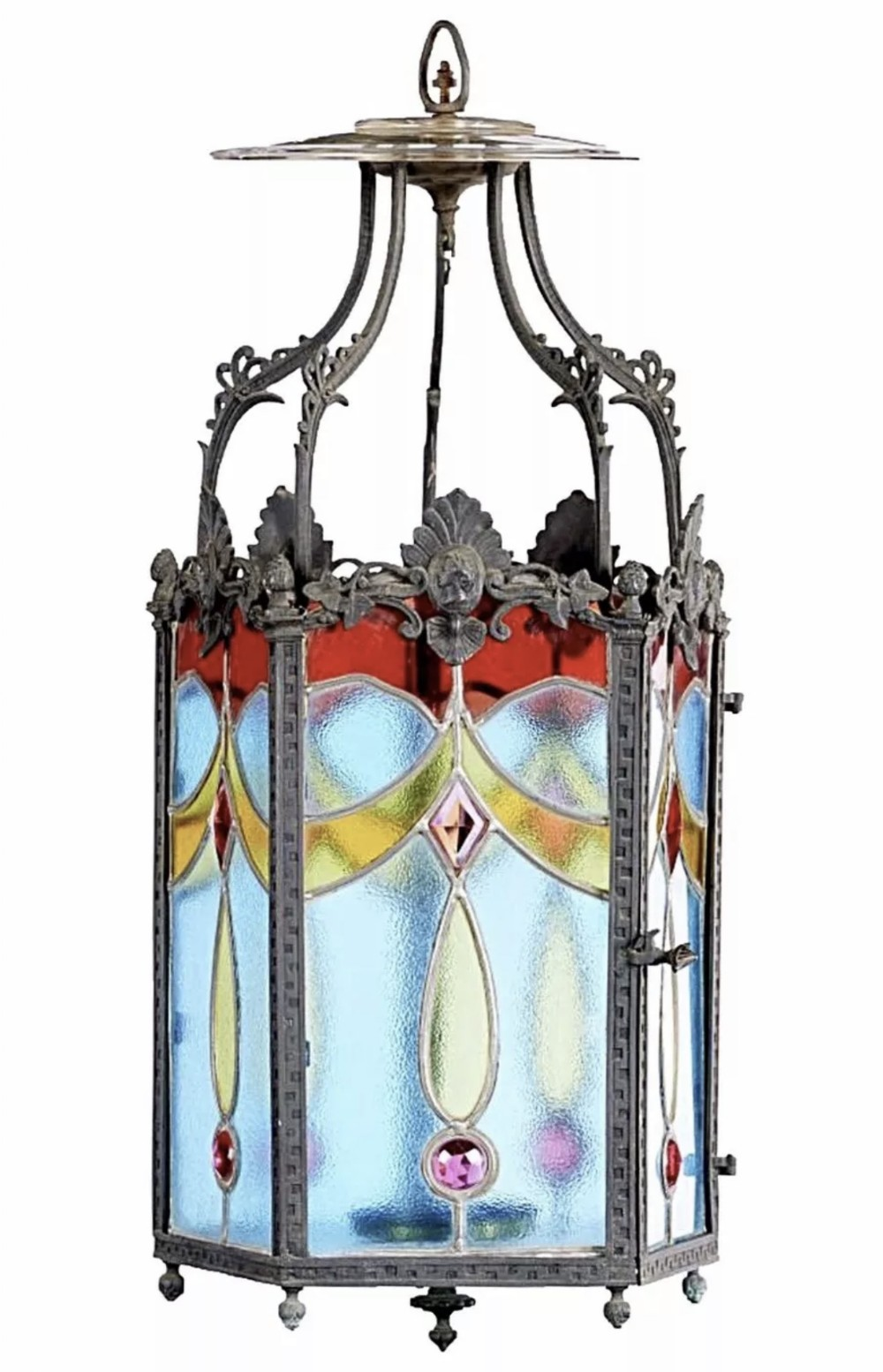 late 19th century hanging stained glass hall lantern