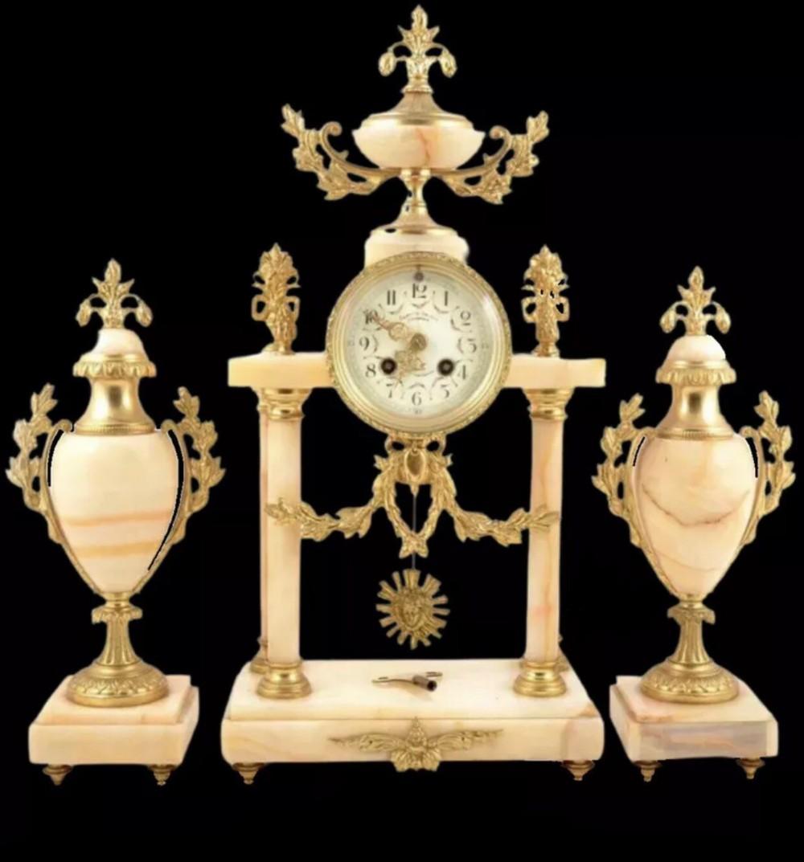 very large french onyx portico clock garniture mantel clock