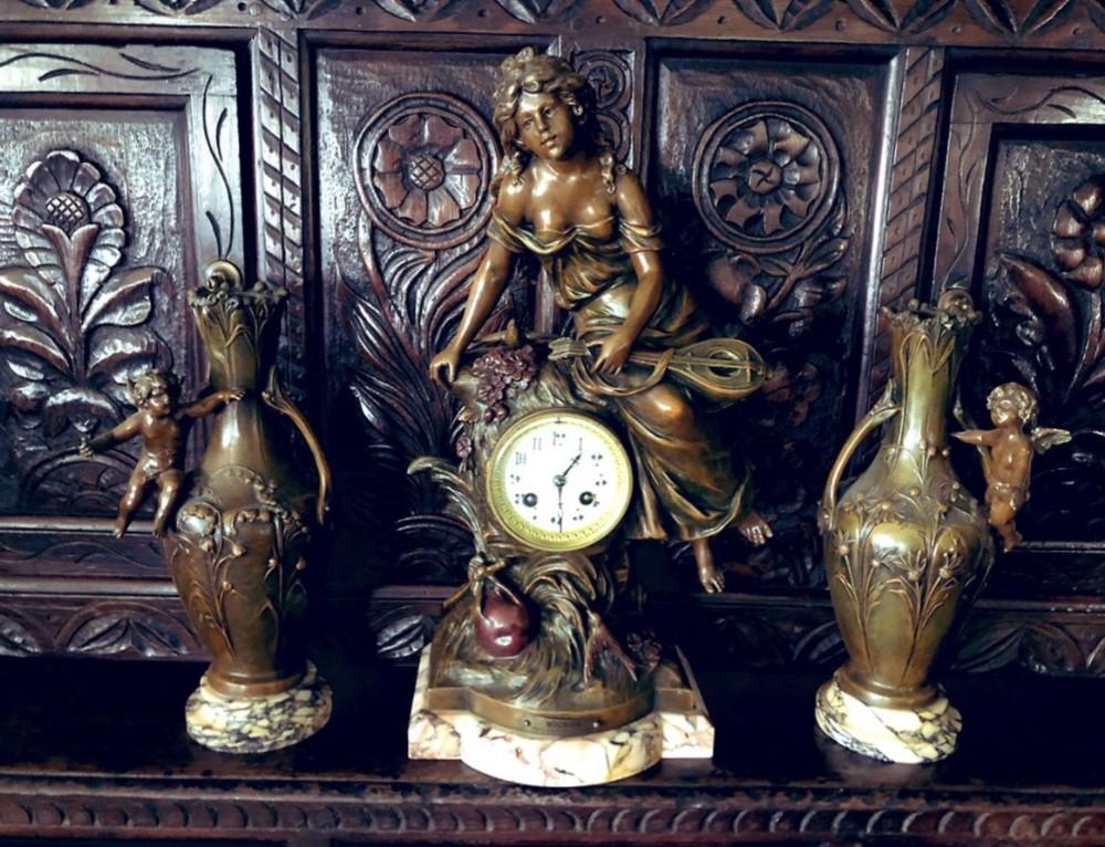 19th century clock garniture by louis francois moreau