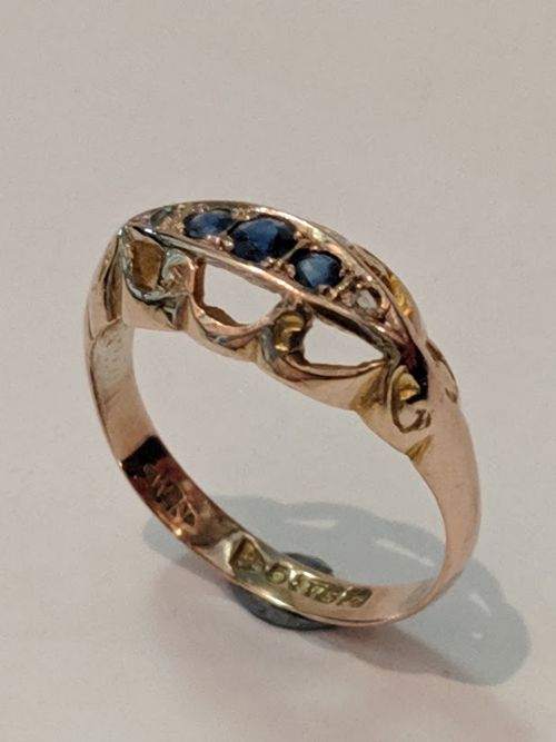 9ct rose gold sapphire and diamond ring