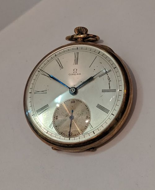 omega gold plated pocket watch