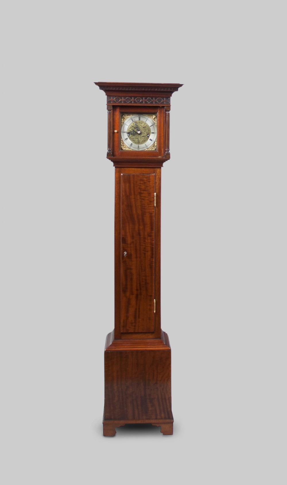 a good quality weight driven 8 day english mahogany cased granddaughter clock circa 1930