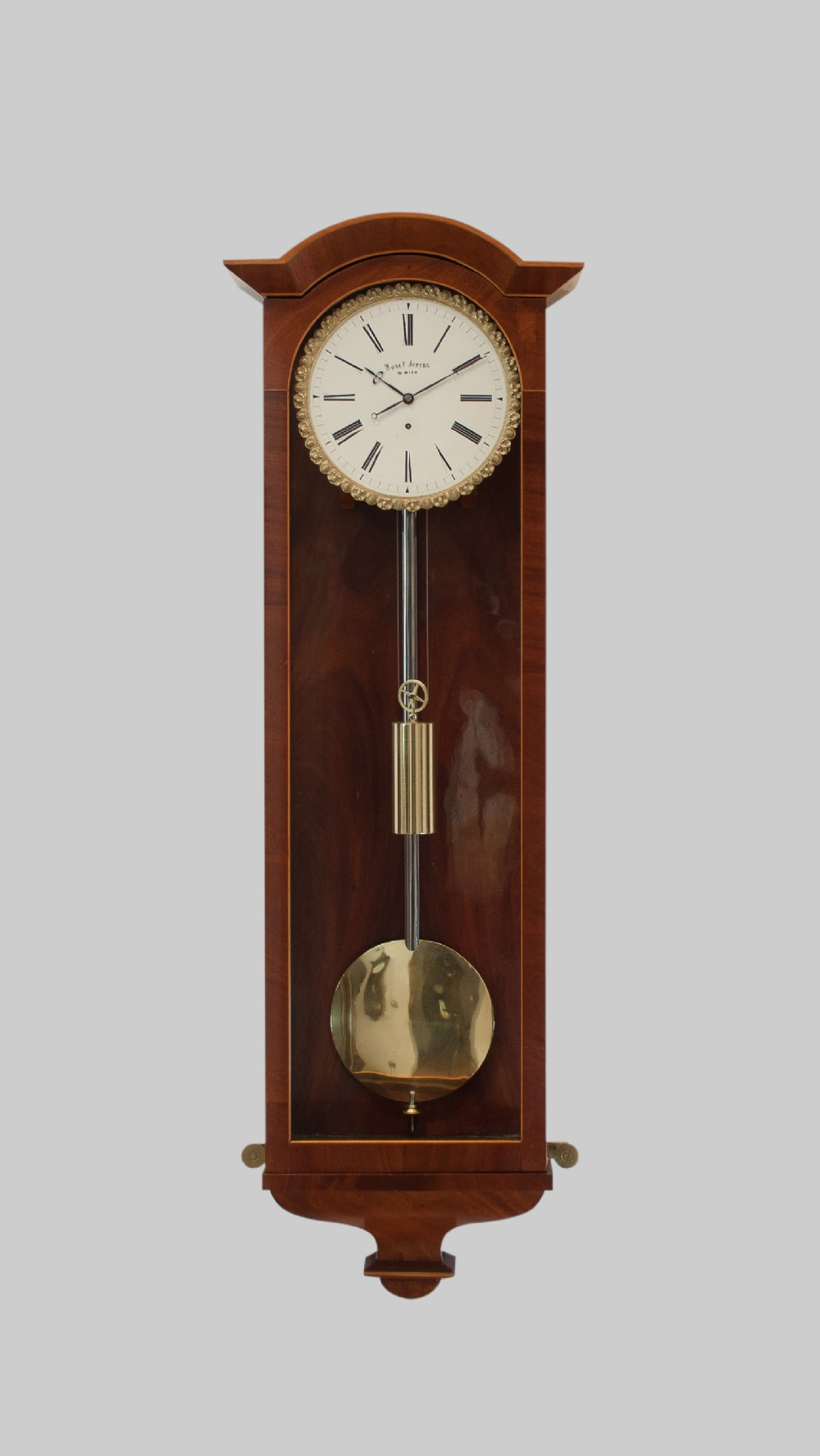 a flame mahogany biedermeier vienna wall regulator circa 1850