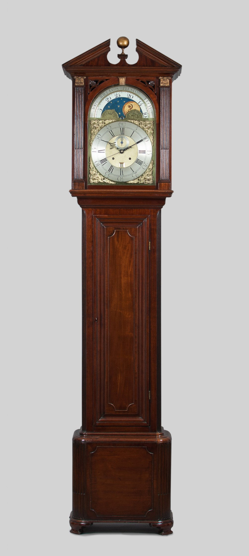 georgian mahogany longcase grandfather clock by williams of preston