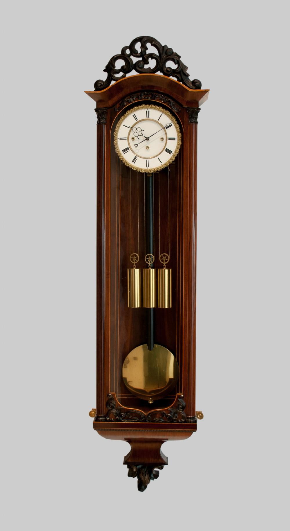 a grande sonnerie vienna regulator wall clock circa 1850