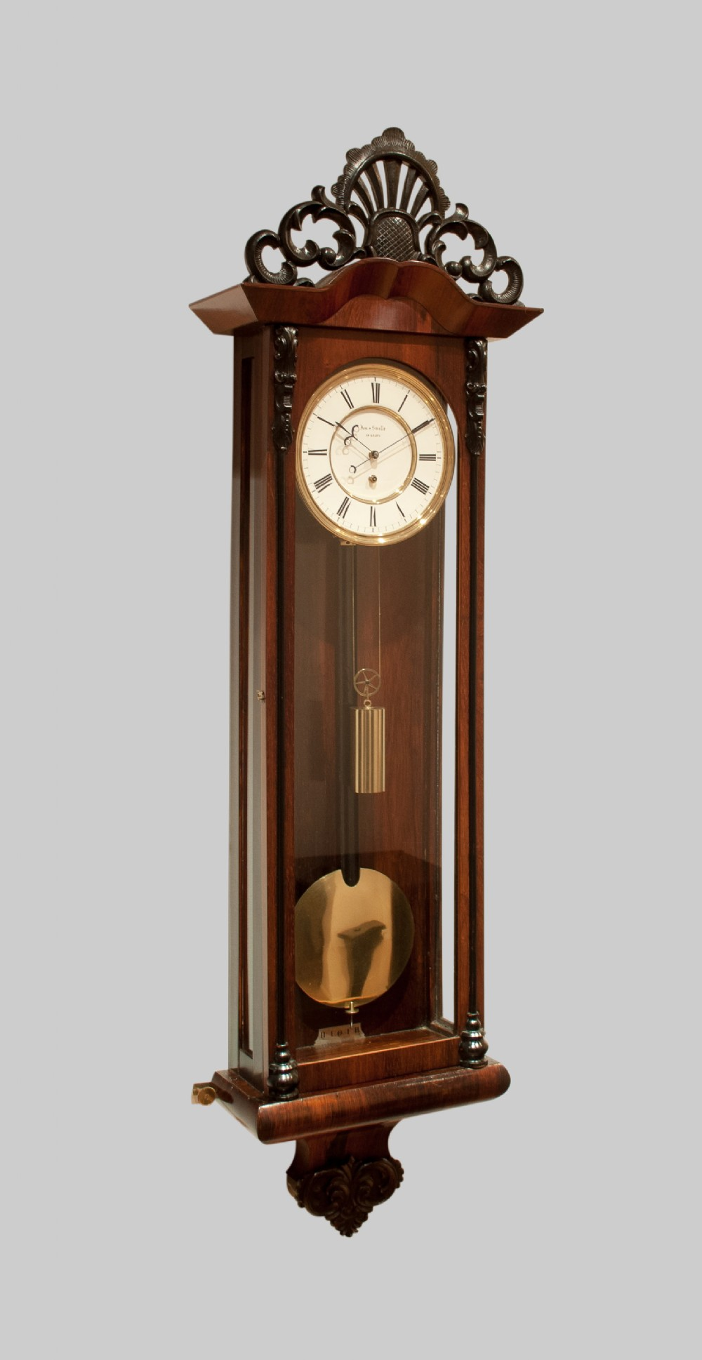 a fine quality biedermeier vienna regulator wall clock