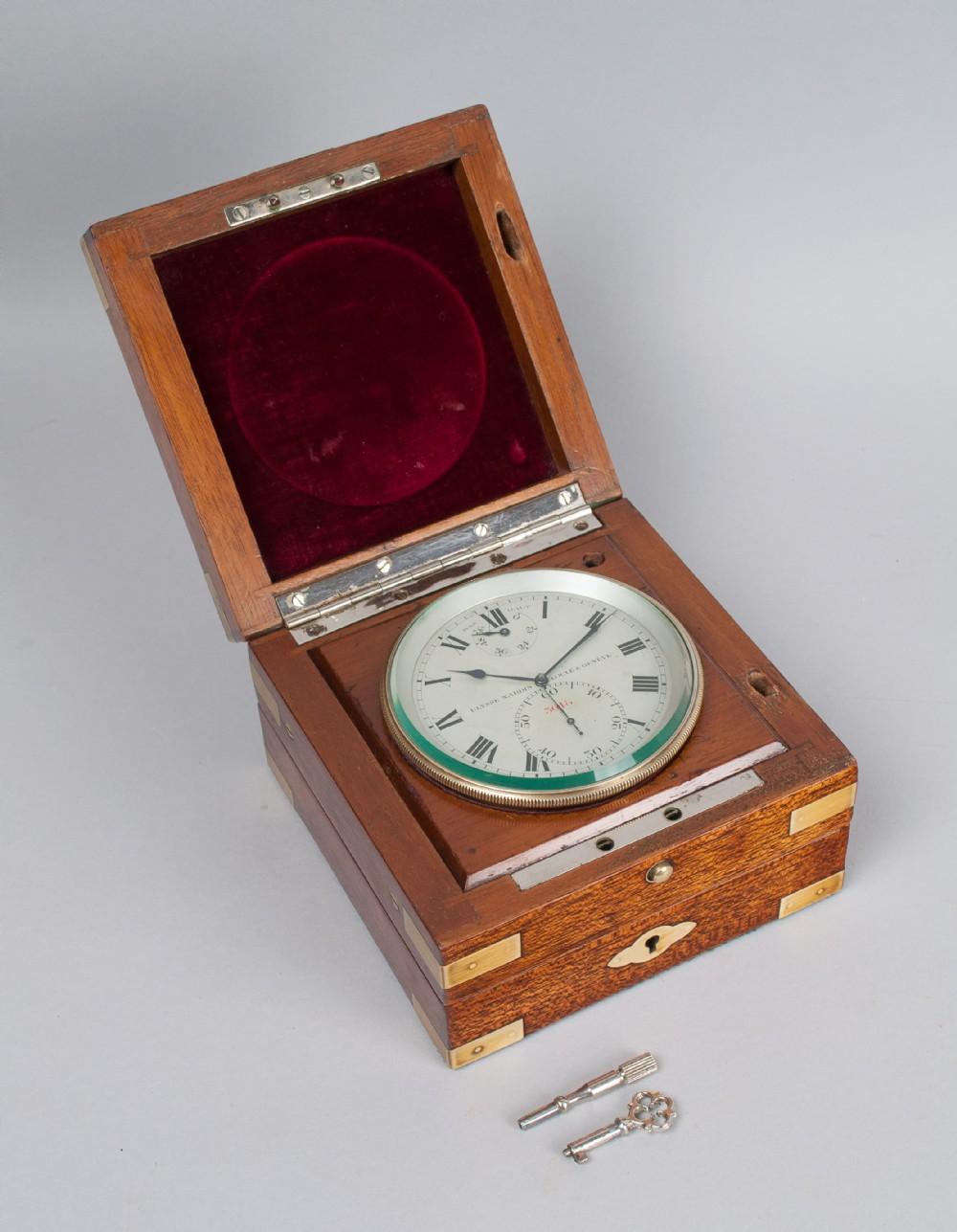 a mahogany cased deck watch chronometer by ulysse nardin c1937
