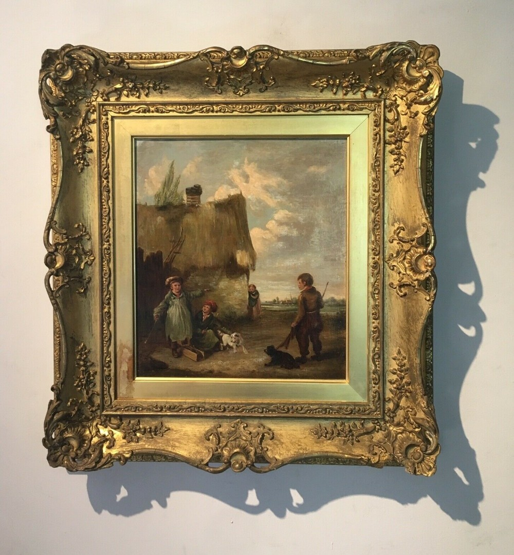 attributed edmund bristow original antique english school oil painting mouse trap framed with provenance verso