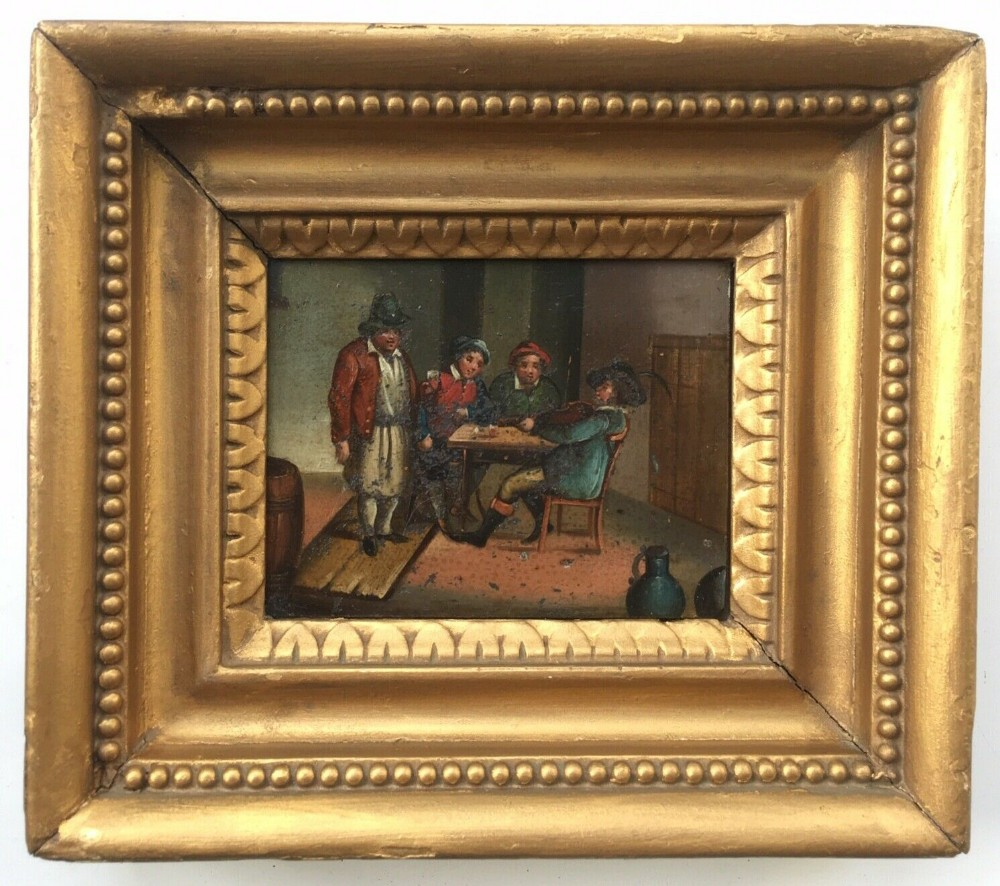 dutch school original antique frame oil painting on tin figures tavern scene