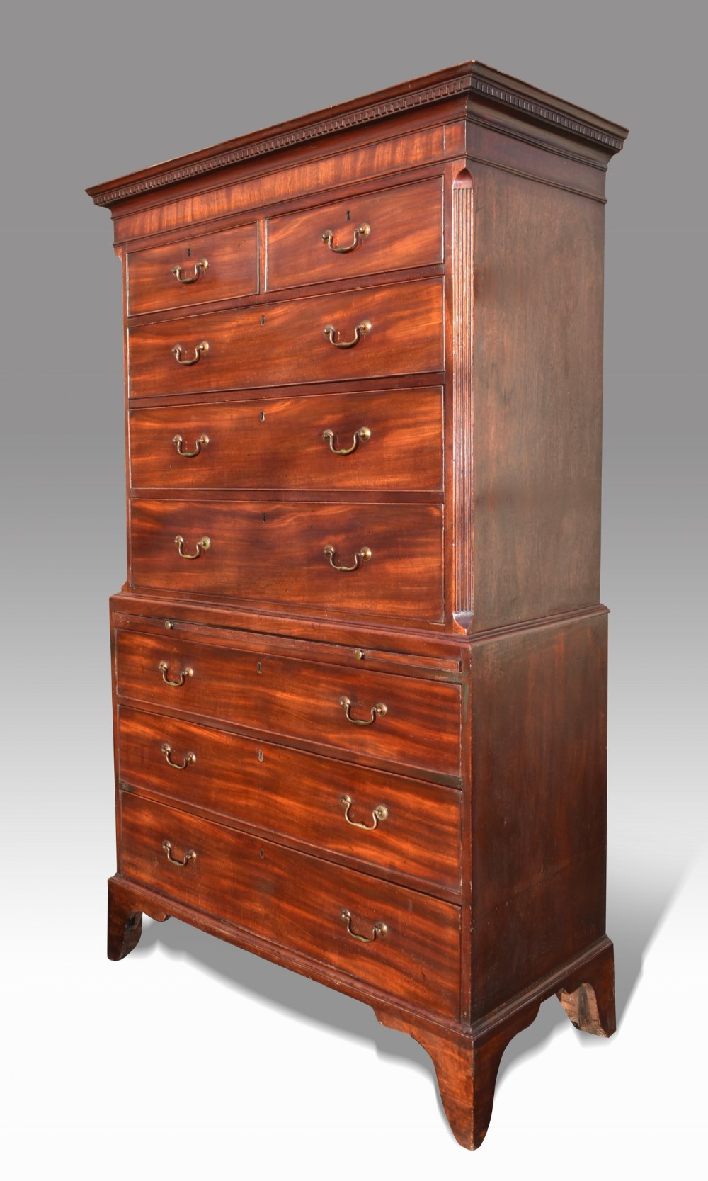 a fine chippendale period mahogany tallboy chest on chest