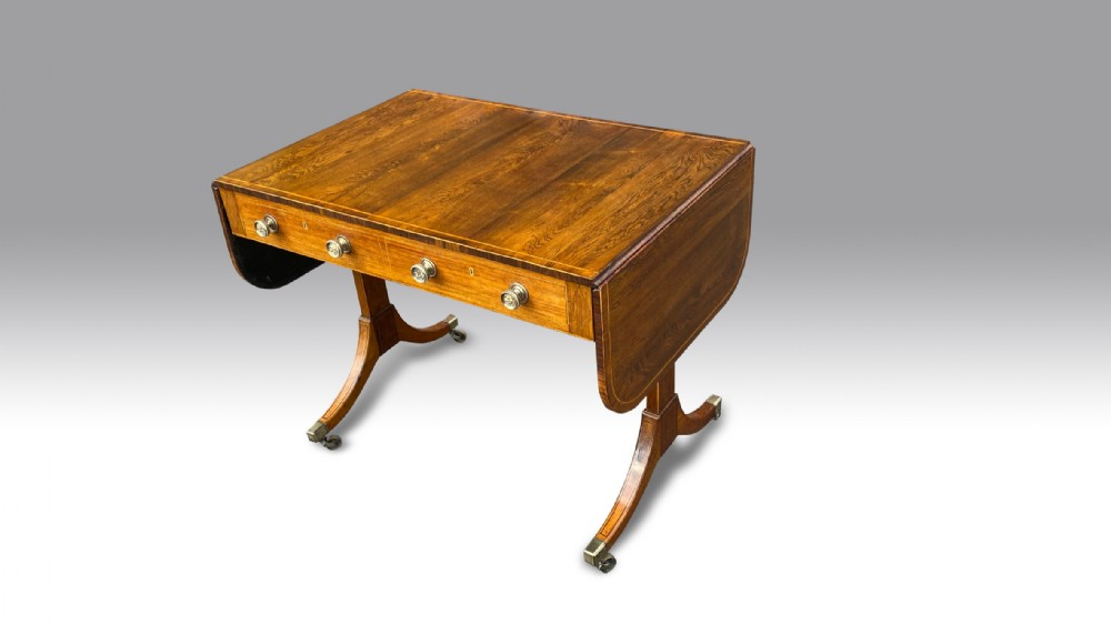 a superb george iii rosewood boxwood inlaid sofa table