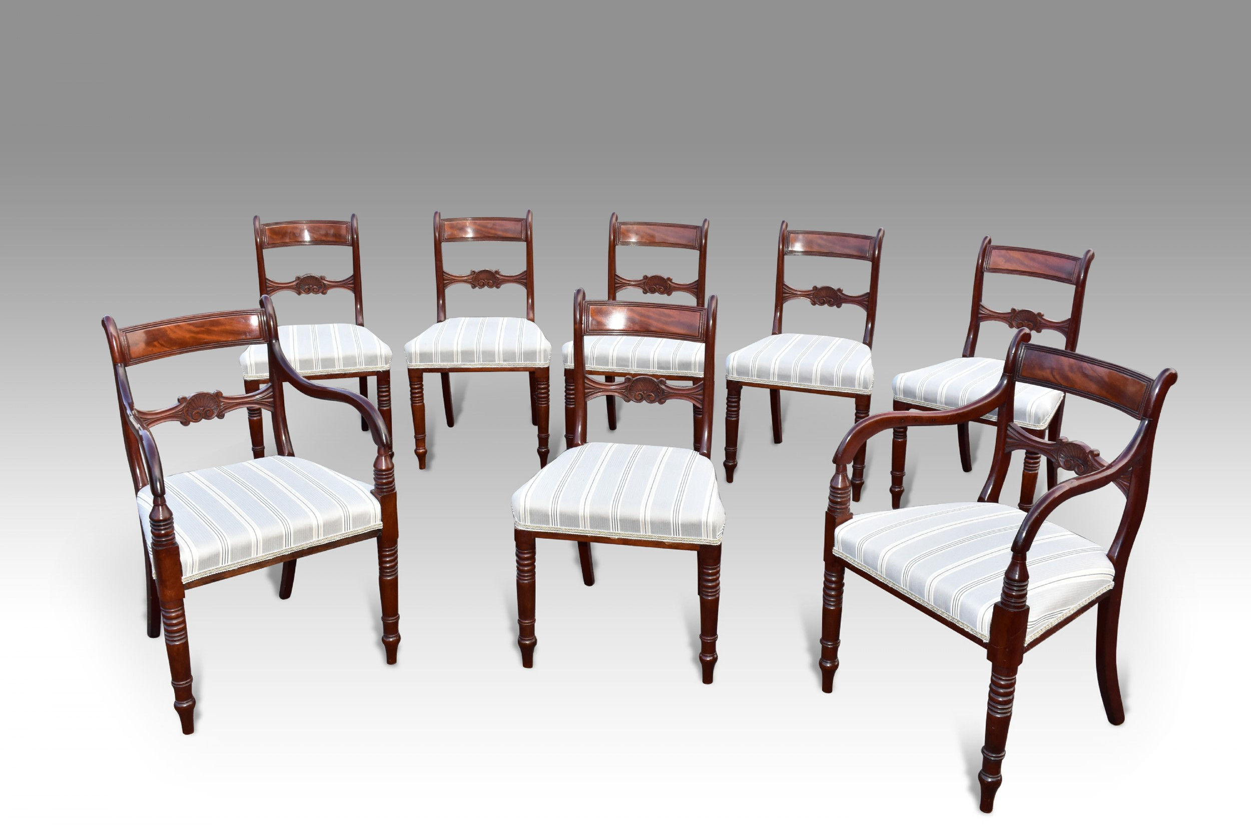 a fine set of 8 regency period dining chairs