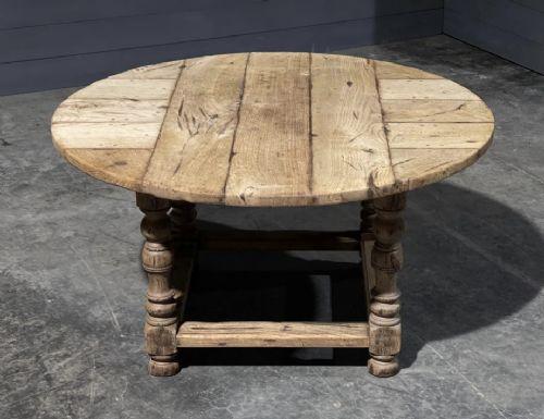rare round bleached oak farmhouse table