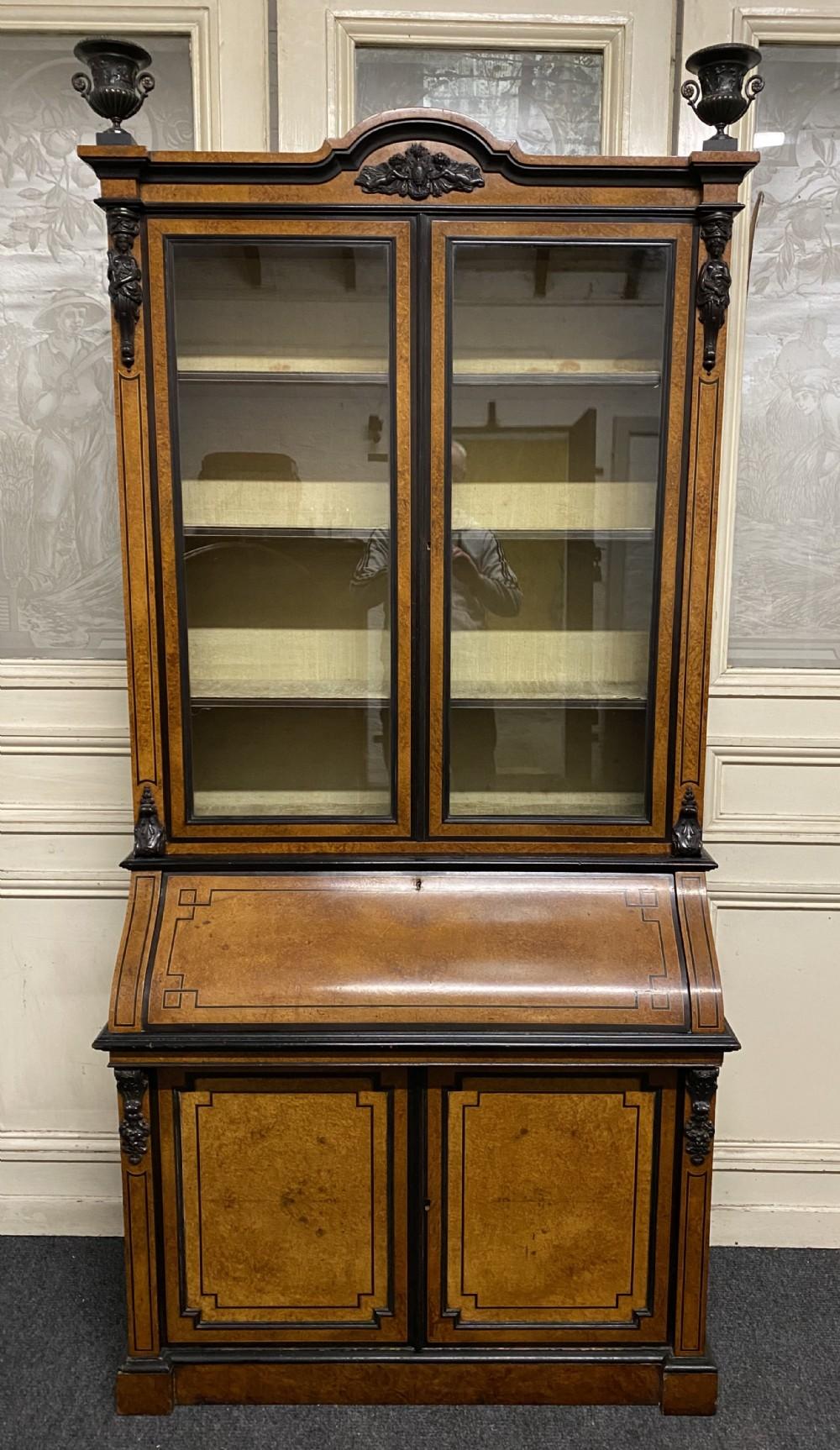 very fine italian amboyna bureau bookcase