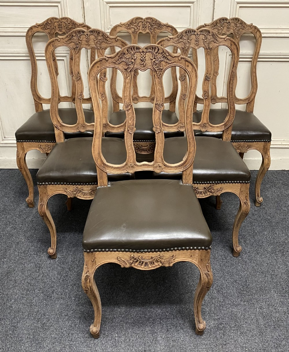set 6 french oak dining chairs