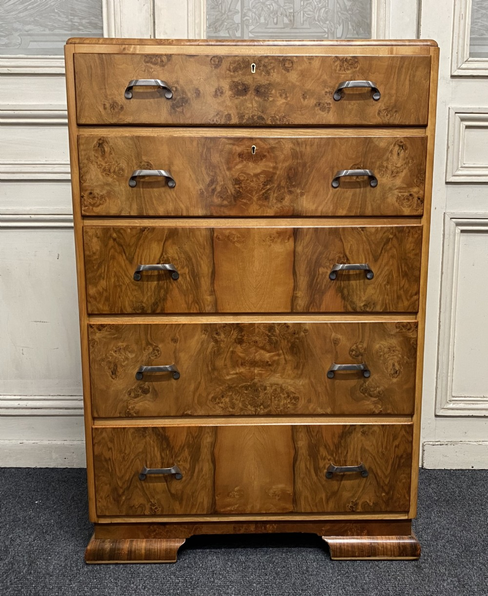 art deco burr walnut chest of drawers