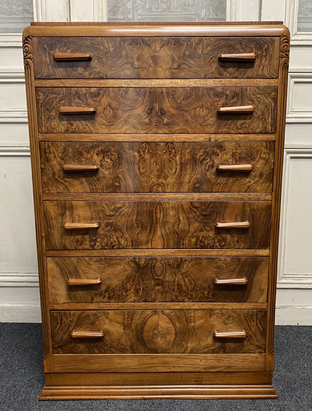 burr walnut art deco chest of drawers
