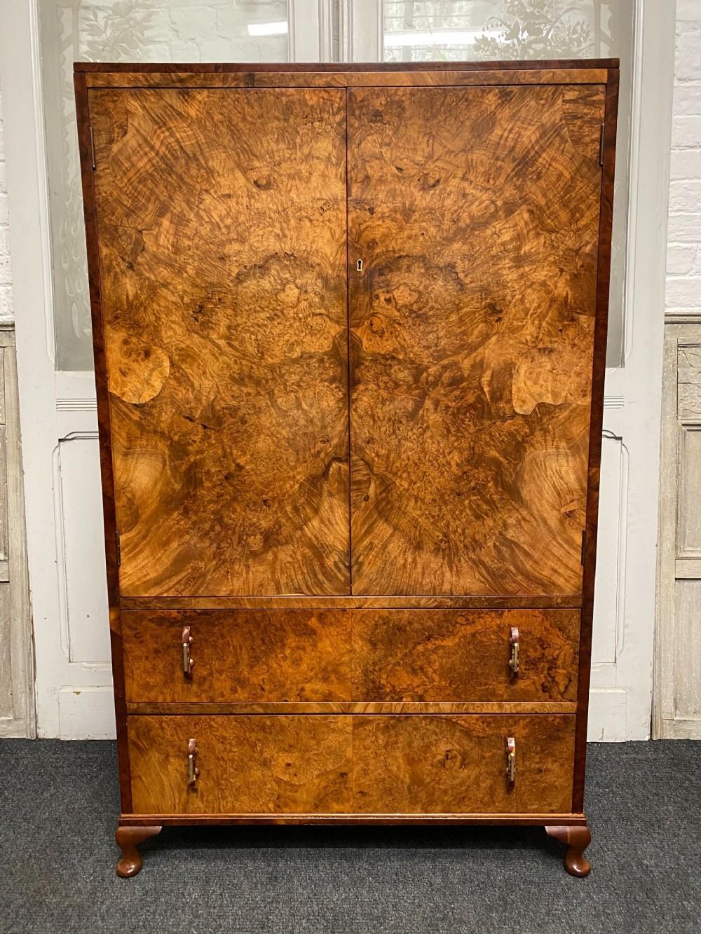 art deco burr walnut bedroom cupboard