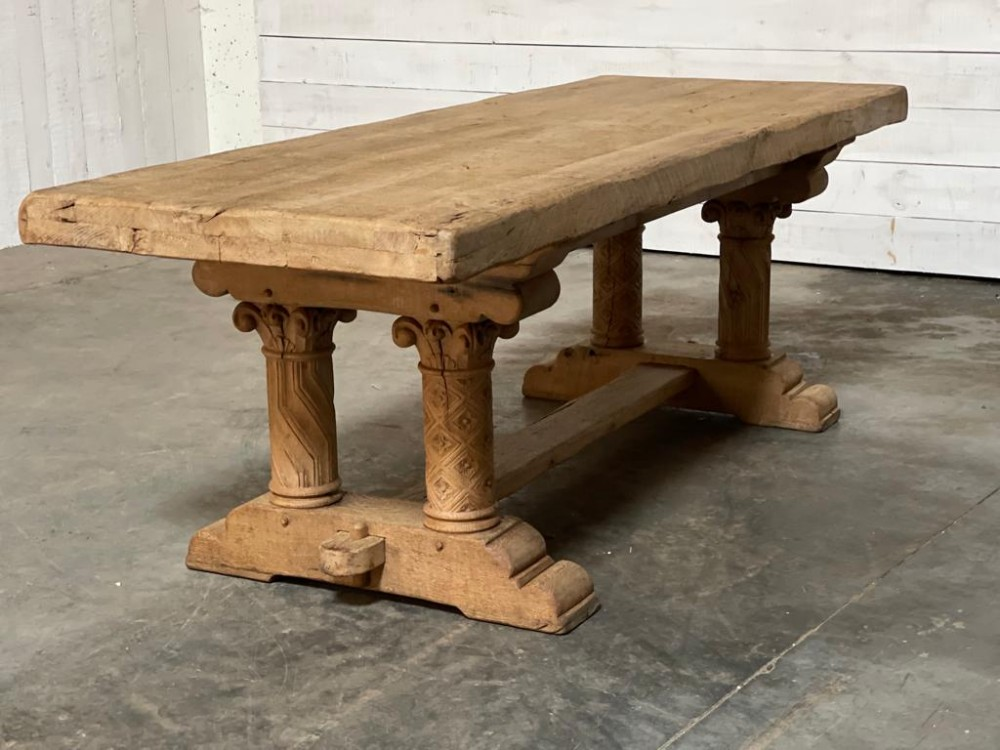 extremely rare large refectory table carved columns