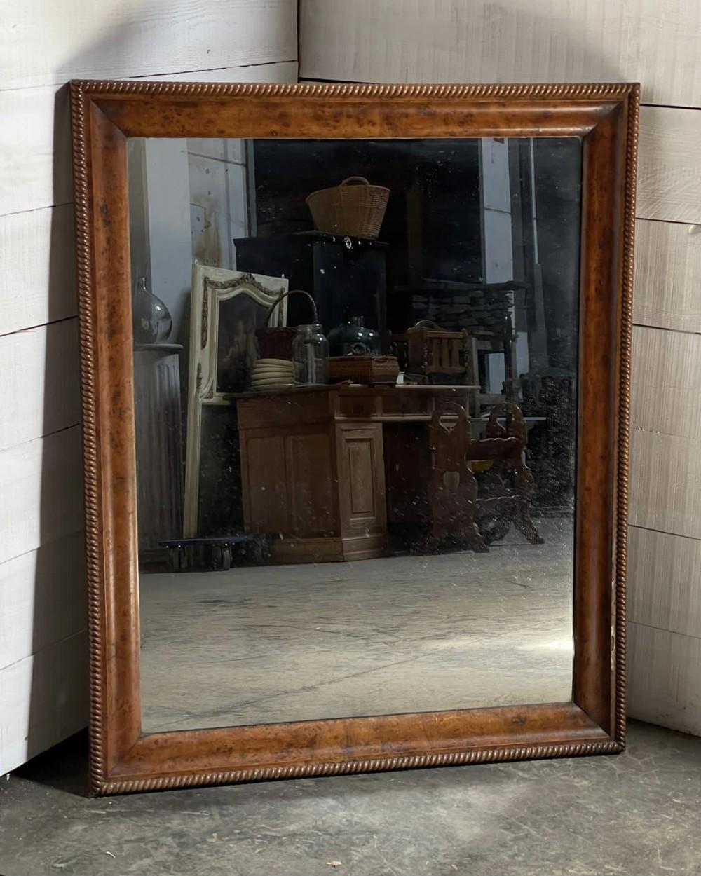 19th century french burr walnut mirror