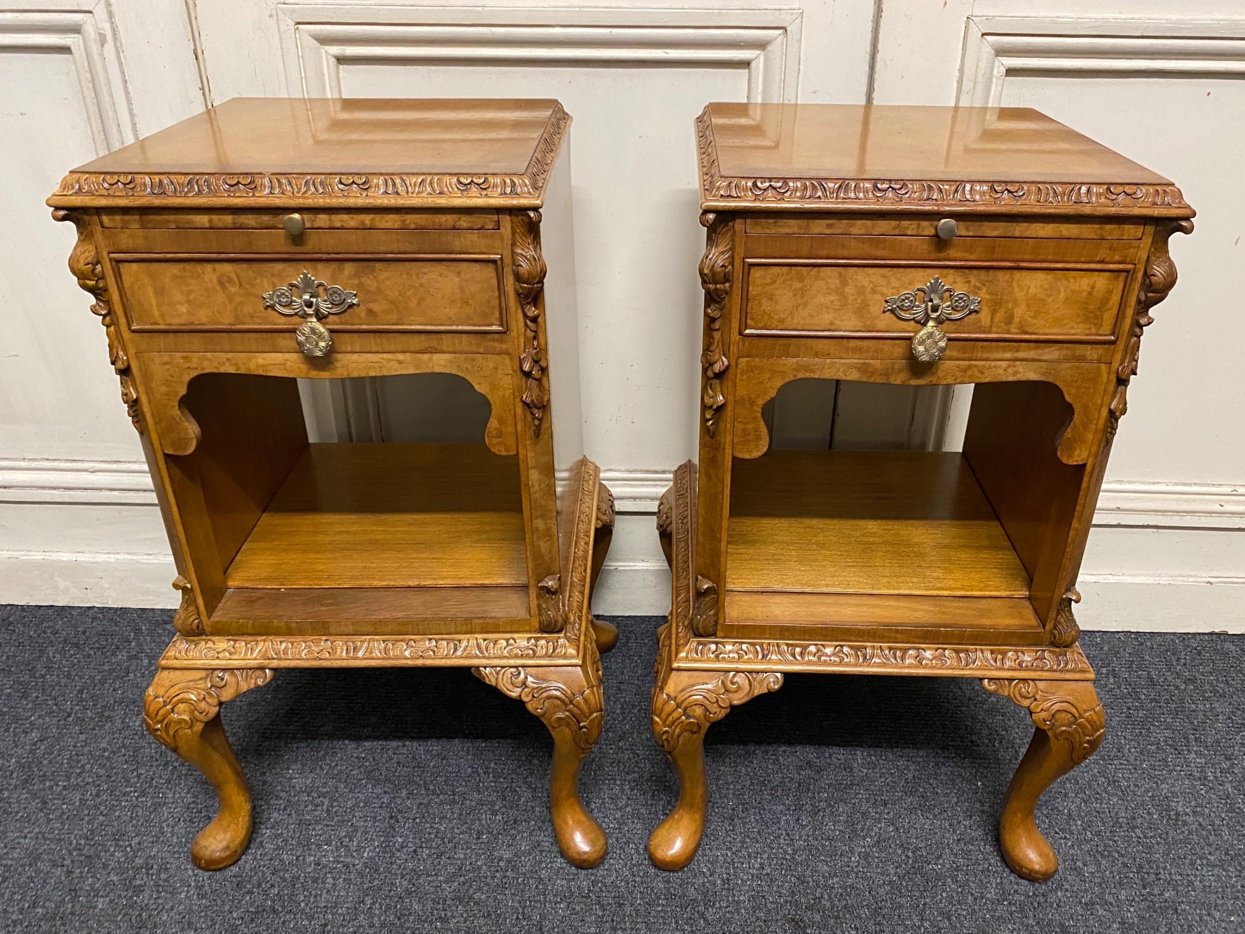 pair burr walnut bedside cabinets