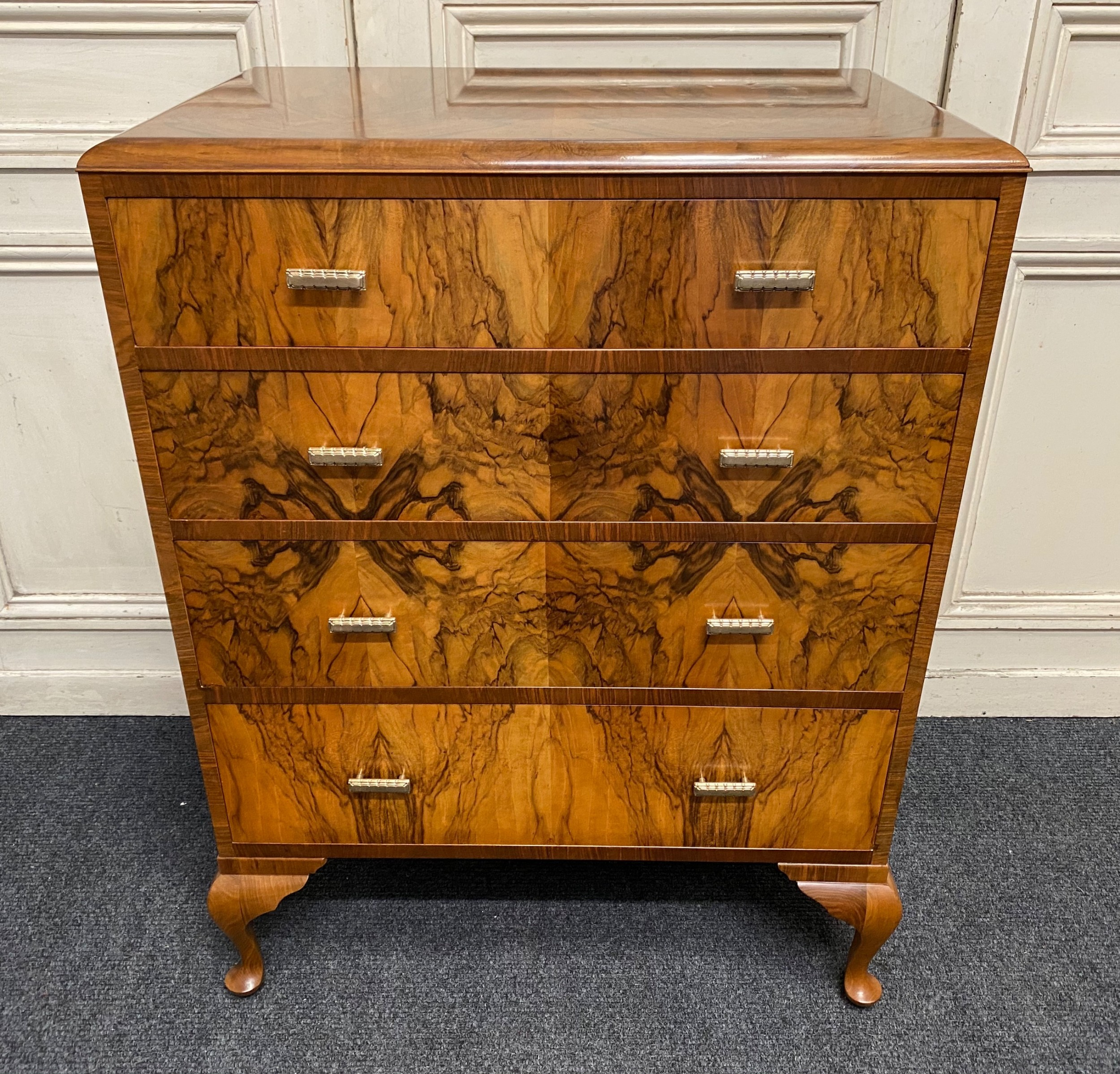 quality art deco burr walnut chest of drawers