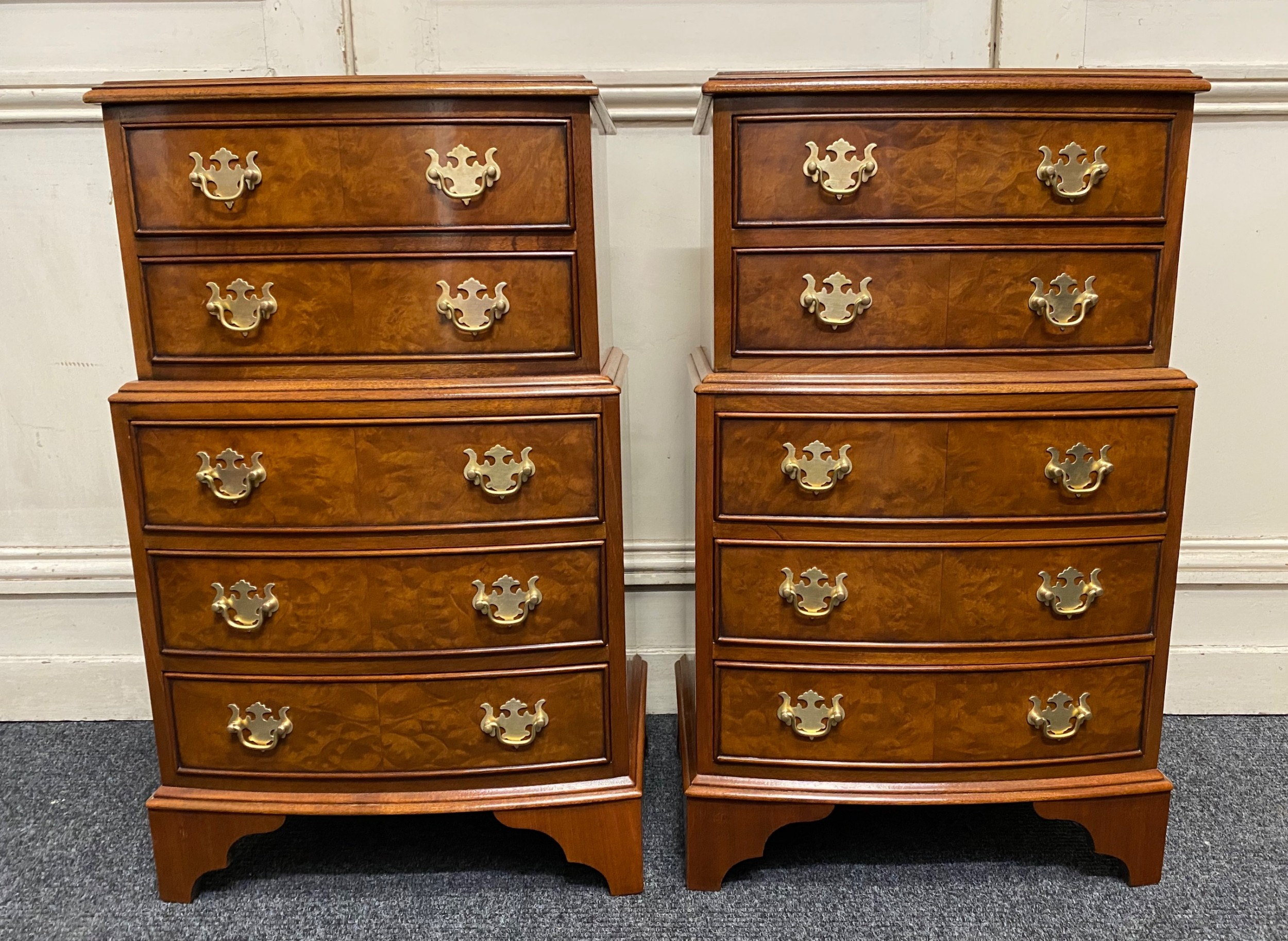 pair burr walnut bedside chests