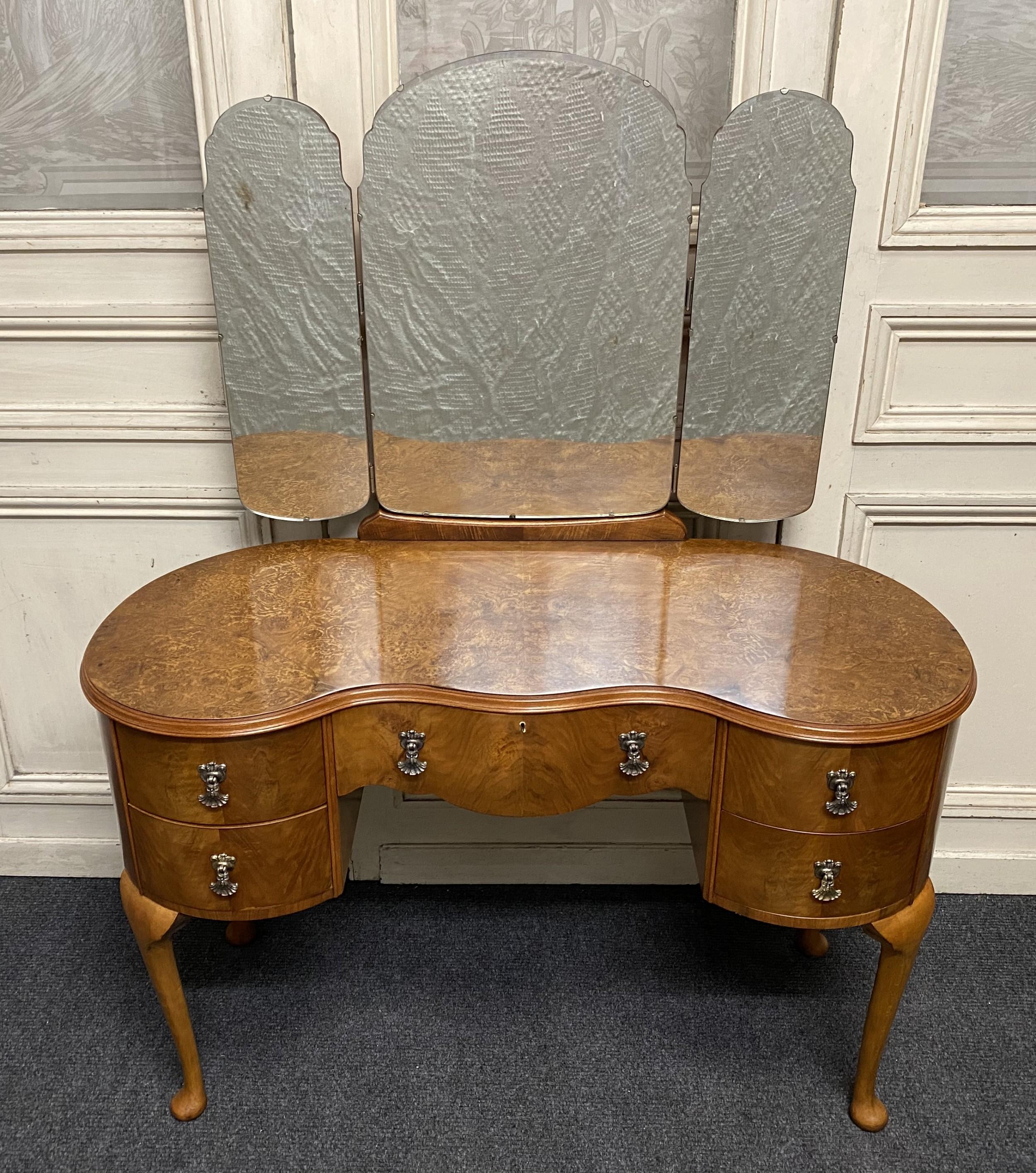 burr walnut kidney dressing table