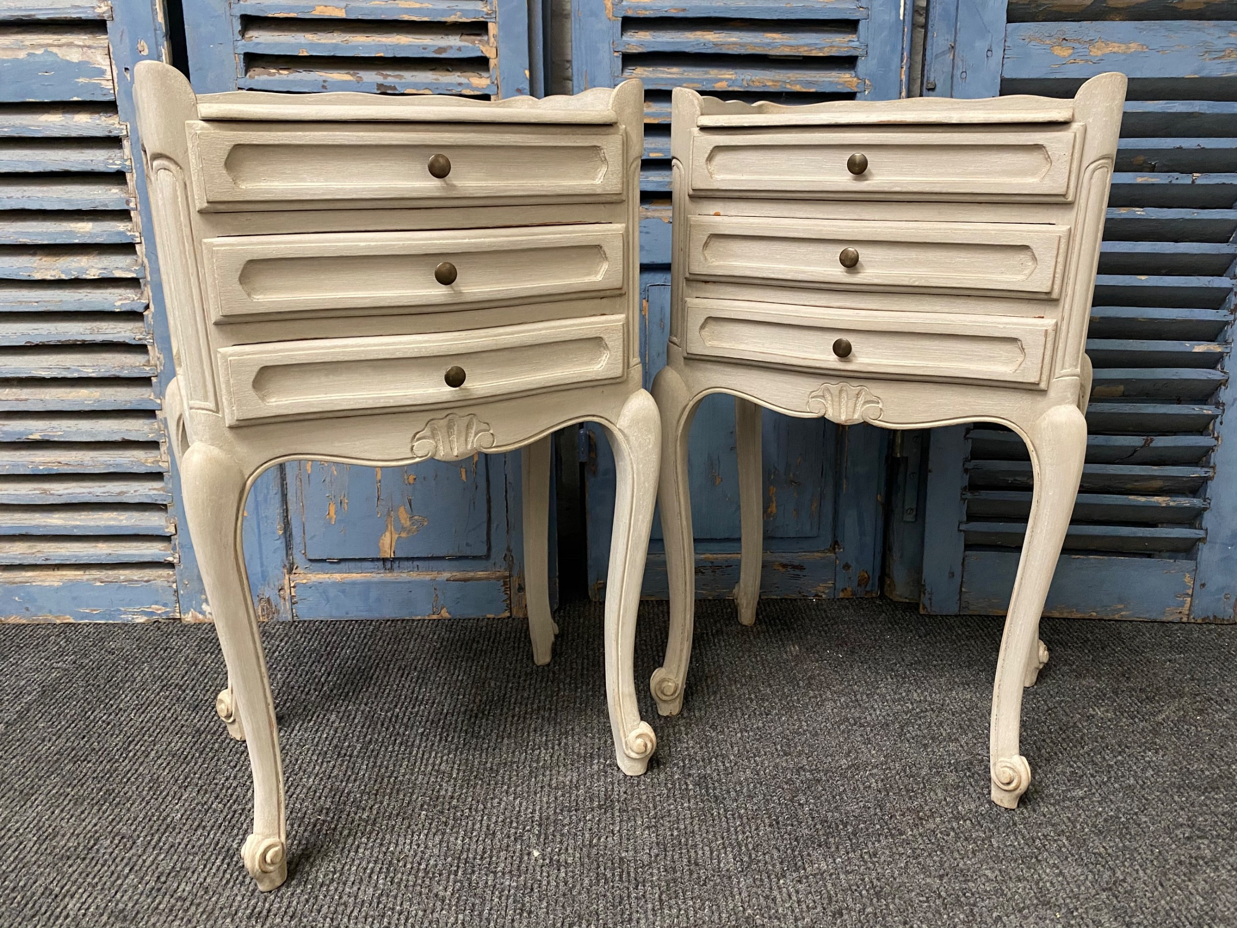 pair french bedside drawers