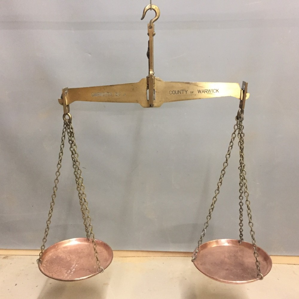 victorian set of brass and copper scales