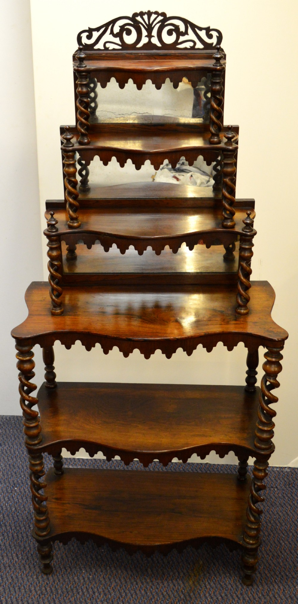 What Not To Do When Getting Your Makeup Done: Victorian Walnut Six Tiered Whatnot
