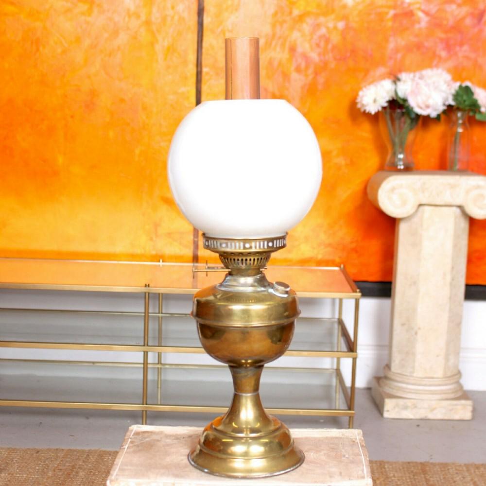 brass oil lamp glass chimney globe