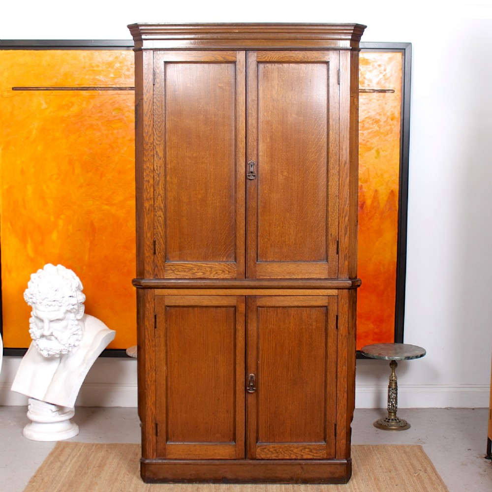 large georgian oak corner cabinet