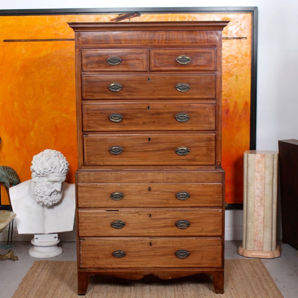 georgian chest on chest of drawers 18th century inlaid mahogany