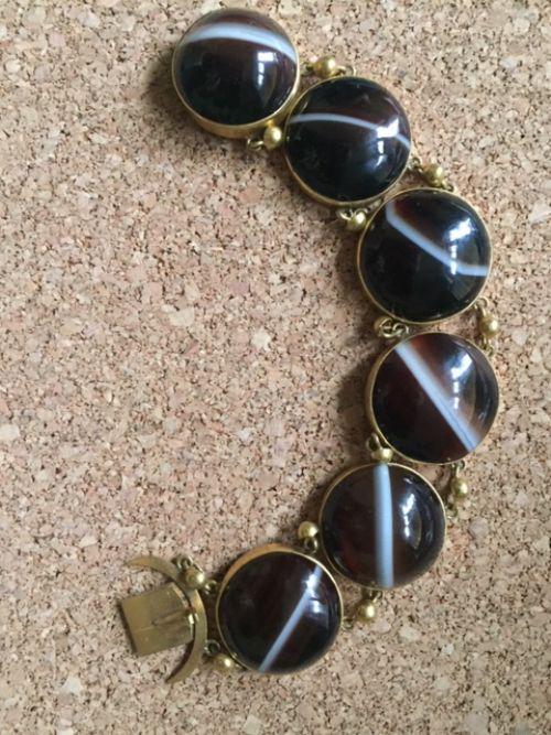 gilt sardonyx banded agate bracelet